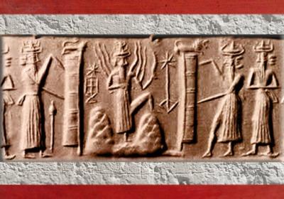 D'après Shamash qui émerge de la Montagne, étoiles, temple et lion de la déesse, vers 2340 - 2200 avjc, période d'Agadé, Mésopotamie. (Marsailly/Blogostelle)