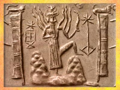 D'après Shamash qui émerge de la Montagne, temple et étoiles, vers 2340 - 2200 avjc, période d'Agadé, Mésopotamie. (Marsailly/Blogostelle)