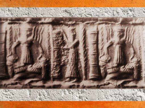D'après le dieu Flamme monté sur des Taureaux à tête humaine, sceau, vers 2300 avjc, période d'Agadé, Mésopotamie. (Marsailly/Blogostelle)