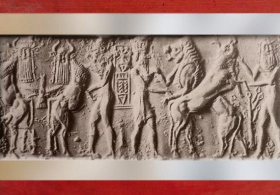D'après une scène de combat, Taureaux à tête humaine et héros, cylindre marbre, Tello, vers 2340 - 2200 avjc, période d'Agadé, Mésopotamie. (Marsailly/Blogostelle)