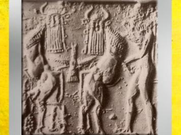 D'après une scène de combat, Taureaux à tête humaine et héros, détail, Tello, vers 2340 - 2200 avjc, période d'Agadé, Mésopotamie. (Marsailly/Blogostelle)