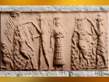 D'après le Soleil Nergal incendiaire, le Feu Gibil, et la déesse aux Épis, vers 2340 - 2200 avjc, période d'Agadé, Mésopotamie. (Marsailly/Blogostelle)