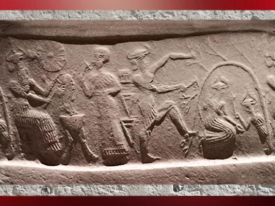 D'après le dieu solaire Nergal armé de sa torche, et petit dieu de la Végétation, vers 2340 - 2150 avjc, période d'Agadé, Girsu-Tello, Mésopotamie. (Marsailly/Blogostelle)
