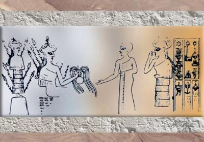 D'après une image de la Déesse de la Végétation et ses épis, bulle de Girsu-Tello, vers 2250 avjc, époque de Naram-Sîn, période d'Agadé, Mésopotamie. (Marsailly/Blogostelle)