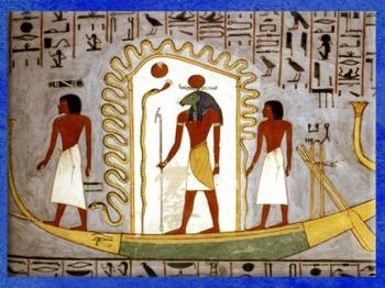 D'après le dieu Rê dans sa barque, Livre des Portes, tombe de Ramsès Ier, Nouvel Empire, Égypte ancienne. (Marsailly/Blogostelle)