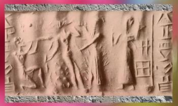 D'après le Dieu Flamme incendiaire, vaincu dans le brasier,vers 2340 - 2200 avjc, période d'Agadé, Mésopotamie. (Marsailly/Blogostelle)