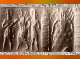 D'après l'homme-Oiseau et dieu flamboyant Shamash dans la montagne, et piliers-temple, vers 2300 avjc, période d'Agadé, Mésopotamie. (Marsailly/Blogostelle)