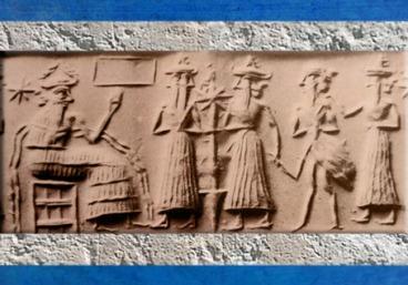 D'après le dieu des Flots Ea, son vizir Ushmu, et l'Homme-Oiseau, vers 2300 avjc, période d'Agadé, Mésopotamie (Marsailly/Blogostelle)