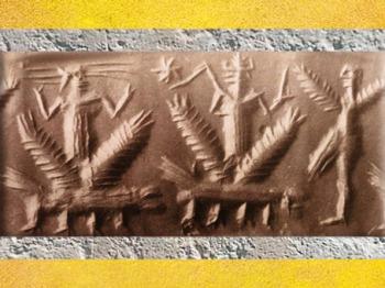 D'après les Dieux-Foudre de l'Orage, dragons et Homme-Oiseau, vers 2300 avjc, période d'Agadé. Mésopotamie. (Marsailly/Blogostelle)