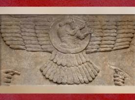 D'après le dieu Soleil Shamash, et disque solaire ailé, bas-relief assyrien, Nimrud, vers 865-860 avjc, IXe siècle avjc, période de l'empire Assyrien. (Marsailly/Blogostelle)