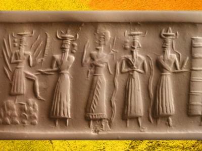 D'après Shamash et son couteau-scie, Ea et ses Flots, vers 2340 - 2200 avjc, période d'Agadé, Mésopotamie. (Marsailly/Blogostelle)