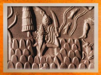 D'après le dieu-flammes et son couteau scie, détail du sceau du scribe Adda, vers 2350-2200 avjc époque d'Agadé, Mésopotamie. (Marsailly/Blogostelle)