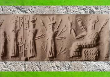 D'après la déesse aux Épis en majesté et un dieu de la Végétation aux Rameaux, vers 2300 avjc, période d'Agadé, Mésopotamie. (Marsailly/Blogostelle)