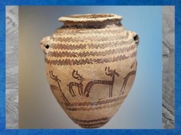 D'après une poterie décorée de gazelles, vers 4000-3500 ans avjc, période de Nagada, Égypte ancienne. (Marsailly/Blogostelle)