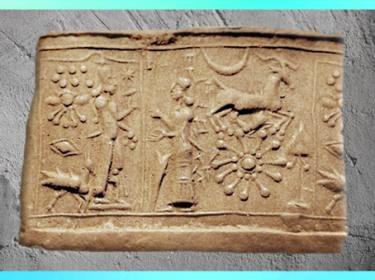 D'après le monde céleste des dieux et la roue solaire, sceau-cylindre, IVe-IIIe millénaire, Mésopotamie. (Marsailly/Blogostelle)