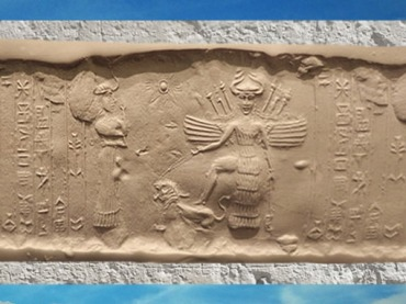 D'après la déesse aux Épis ailée et le lion, sous son aspect guerrier, vers 2340 - 2200 avjc, période d'Agadé, Mésopotamie. (Marsailly/Blogostelle)