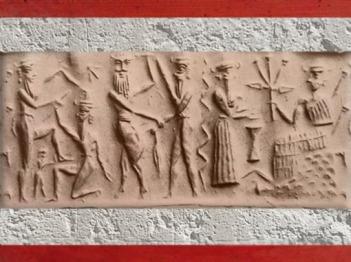 D'après la déesse aux épis armée, sur un trône, et combats, vers 2340 - 2200 avjc, période d'Agadé, Mésopotamie. (Marsailly/Blogostelle)