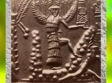 D'après la déesse ailée et armée, sceau du scribe Zagganita, vers 2340 avjc - 2200 avjc, période d'Agadé, Mésopotamie. (Marsailly/Blogostelle)