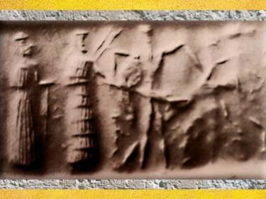 D'après le Dieu-Soleil, la Déesse et un combat, vers 2340 avjc - 2200 avjc, période d'Agadé, Mésopotamie. (Marsailly/Blogostelle)