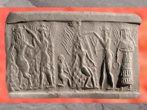 D'après la déesse aux Épis, Nergal incendiaire et le Feu Gibil, vers 2340 - 2200 avjc, sceau, période d'Agadé, Mésopotamie. (Marsailly/Blogostelle)