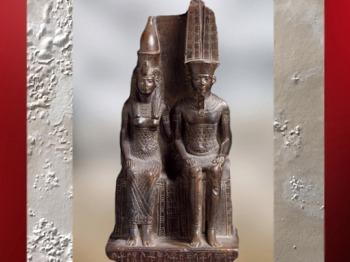 D'après Amon-Rê et Mout, dieux de Thèbes, groupe statuaire dédicacé par Mérymaât, vers 1550 - 1069 avjc, Nouvel Empire, Égypte ancienne. (Marsailly/Blogostelle)