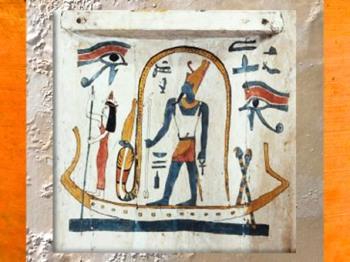 D'après Atoum, détail,couvercle intérieur du sarcophage Tachepenkhonsou, joueuse de sistre d'Amon-Rê, bois peint, vers 650 avjc, fin XXVe-début XXVIe, dynastie, Égypte ancienne (Marsailly/Blogostelle)