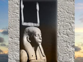 D'après le ka du souverain Hor, le double, hiéroglyphe bras levés, XIIe dynastie, tombeau du roi Hor, Dahchour, Moyen Empire, Égypte ancienne. (Marsailly/Blogostelle)