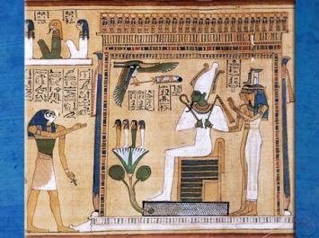 D'après Osiris, souverain du royaume des Morts, Livre des Morts de Hounefer, scribe royal de Séthy Ier, XIXe dynastie, Thèbes, Nouvel Empire, Égypte ancienne. (Marsailly/Blogostelle)