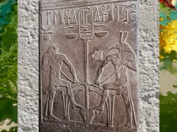 D'après Horus et Seth et le Sema-Taouy, symbole d'union, détail, trône d'une statue de Sésostris Ier, XIIe dynastie, Ancien Empire, Égypte ancienne. (Marsailly/Blogostelle)