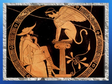 D'après Œdipe et le sphinx, coupe attique à figures rouges, vers 470-460 avjc, Grèce antique. (Marsailly/Blogostelle)