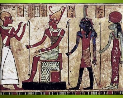 D'après, Shou, dieu Air, et Tefnout, déesse Humidité (à droite), stèle d'Ousirour, prêtre d'Amon à Thèbes,bois peint, vers IIIe siècle avjc, époque ptolémaïque, Égypte ancienne. (Marsailly/Blogostelle)