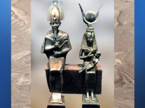 D'après Osiris et la déesse Isis allaitant le jeune Horus, bronze, sans doute Basse Époque, vers 664 - 332 avjc, Égypte ancienne. (Marsailly/Blogostelle)