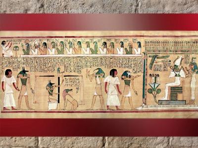 D'après La Pesée du Cœur, Livre des Morts, vers 1275 avjc, papyrus d'Hounefer, XIXe dynastie, Thèbes, Égypte ancienne. (Marsailly/Blogostelle)
