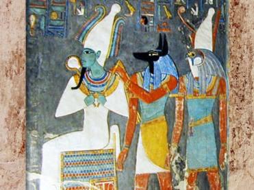 D'après Osiris, Anubis et Horus, tombe de Horemhed, Thèbes, vers 1290 avjc, Nouvel Empire,Égypte ancienne. (Marsailly/Blogostelle)