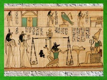 D'après la Pesée du coeur, Anubis, Thot, Osiris, Isis et Nephtys, papyrus funéraire, chanteur Amun Nany, vers 1050 avjc, XXIe dynastie, Troisième période intermédiaire, Égypte ancienne. (Marsailly/Blogostelle)