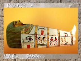 D'après le sarcophage de Dame Madja, bois peint, vers 1490-1470 avjc, Nouvel Empire, Égypte ancienne. (Marsailly/Blogostelle)