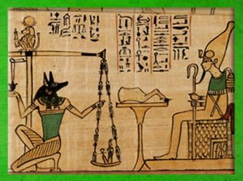 D'après Osiris trônant, Anubis, Thot et la déesse Maât sur la balance, papyrus funéraire, chanteur Amun Nany, vers 1050 avjc, XXIe dynastie, Troisième période intermédiaire, Égypte ancienne. (Marsailly/Blogostelle)