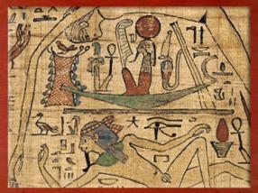 D'après Rê dans sa barque solaire, livre funéraire de Nespakachouty, comptable des greniers d'Amon, vers 1069 - 945 avjc, XXIe dynastie, Égypte ancienne. (Marsailly/Blogostelle)