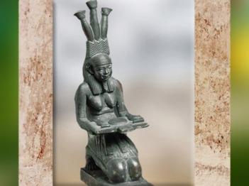 D'après Hâpi, dieu du Nil, fleuve nourricier, statuette, bronze, Basse époque, Égypte Ancienne. (Marsailly/Blogostelle)