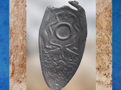 D'après une palette à fard, animaux sauvages et fabuleux, et cupule, schiste, vers 3400 – 3200 avjc, début époque Thinite, Hiérakonpolis, Égypte Ancienne. (Marsailly/Blogostelle)