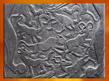 D'après des animaux sauvages et fabuleux, détails, palette à fard, schiste, vers 3400 – 3200 avjc, début de la dynastie Thinite, Hiérakonpolis, Égypte Ancienne. (Marsailly/Blogostelle)