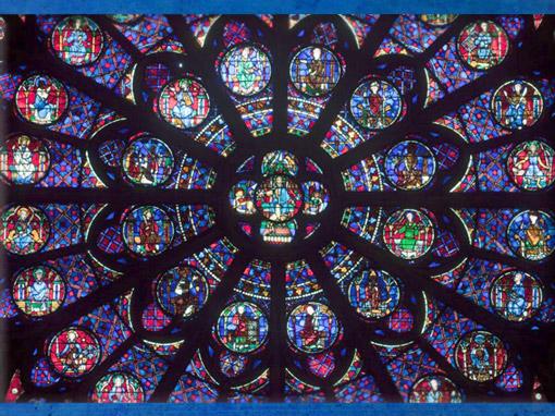 D'après la Rose Sud, Christ de l'Apocalypse, 1260 apjc, Notre Dame de Paris, restauration XIXe siècle. (Marsailly/Blogostelle)