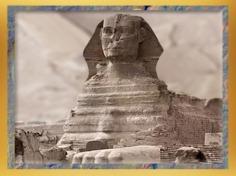 D'après le sphinx de Gizeh, auprès de la pyramide de Khépren, roi de la IVe dynastie sous l'Ancien Empire, Égypte Ancienne. (Marsailly/Blogostelle)