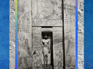 D'après une fausse porte, statue et repas funéraire, mastaba de Itéti, calcaire peint, vers 2625-2475 avjc, VIe dynastie, Ancien Empire, Égypte Ancienne. (Marsailly/Blogostelle)