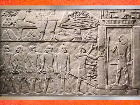 D'après le transport de la statue, mastaba d'Akhethétep et de son fils de Ptahotep, vers 2400 avjc, Ve dynastie, Ancien Empire, Saqqara, Égypte Ancienne. (Marsailly/Blogostelle)
