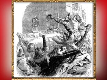 D'après La Bataille d'Hernani, gravure de Grandville, 1836 apjc. (Marsailly/Blogostelle)