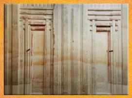 D'après une fausse porte, mastaba d'Akhethétep et de son fils de Ptahotep, vers 2400 avjc, Ve dynastie, Ancien Empire, Saqqara, Égypte Ancienne. (Marsailly/Blogostelle)