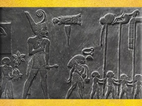 D'après le roi Narmer, serviteurs et défilé des étendards, détail, palette à fard, schiste, vers 3000 avjc, début dynastie Thinite, Hiérakonpolis, Égypte Ancienne. (Marsailly/Blogostelle)