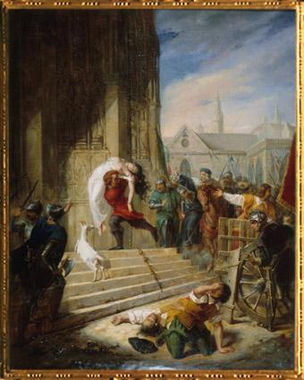 D'après Quasimodo sauve Esmeralda, de Elisa Victorine Henry, huile sur toile, 1832, XIXe siècle. (Marsailly/Blogostelle)