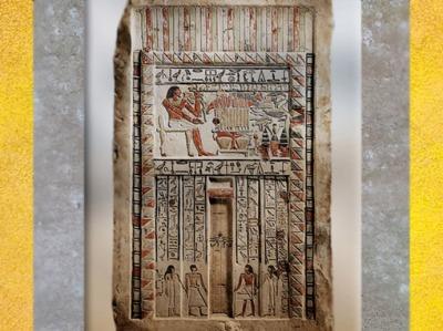 D'après la fausse porte de Neferiu, statue et repas funéraire, calcaire peint, vers 2150-2010 avjc, Moyen Empire, Dendera, Égypte Ancienne. (Marsailly/Blogostelle)
